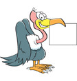 Cartoon buzzard holding a sign vector image vector image