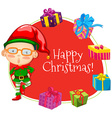 Christmas theme with elf and many presents vector image vector image