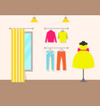 clothing store and products vector image