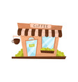 coffee shop exterior in cartoon style facade of vector image