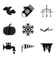 coming winter icon set simple style vector image