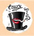 crazy hat with mouth and sigarette smoking vector image
