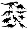dinosaur silhouette prehistoric skeleton bone vector image vector image