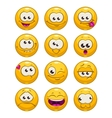 Funny cartoon yellow faces set vector image vector image