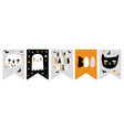 funny hand drawn halloween bunting flags vector image