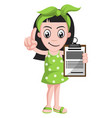 girl holding schedule on white background vector image vector image