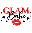 glam babe on white background vector image vector image