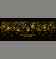 gold seamless snowflake border black background vector image