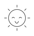 happy cartoon sun weather light day vector image vector image