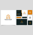 home shop logo design and business card vector image