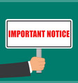 important notice sign flat concept vector image