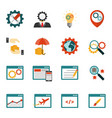 internet marketing flat icons set vector image vector image