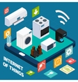 Iot concise household isometric concept icon vector image vector image