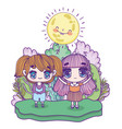 kids cute little girls anime cartoon outdoor sun vector image vector image
