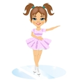 Little cute girl in skate suit skating indoors vector image vector image