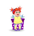 little girl with ginger hair holding big gift box vector image