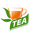 logo cup of tea and green leaves vector image