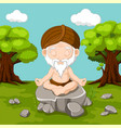 Meditation old man sitting in lotus position vector image