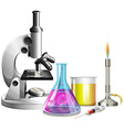 Microscope and beakers with liquid vector image vector image