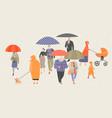 people walking with umbrellas vector image