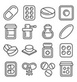 pills drugs and capsules icons set line style vector image