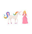 princess and fairy unicorn cute cartoon female vector image