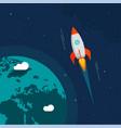 rocket flight in space near earth orbit vector image