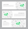 set of three digital beer pub and bar horizontal vector image vector image