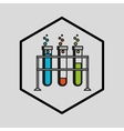 silhouette man science test tube on rack vector image vector image