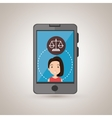 smartphone woman and justice isolated icon design vector image