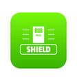 social protest shield icon green vector image vector image