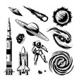 space engraving hand drawn set vector image
