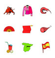 spanish icons set cartoon style vector image vector image
