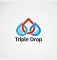 triple drop logo concept icon element and vector image vector image