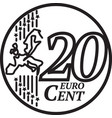 twenty euro cent coin vector image vector image