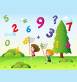 two kids catching numbers in the sky vector image vector image