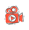 video camera icon in comic style movie play vector image