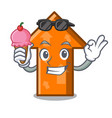 with ice cream arrow character cartoon style vector image