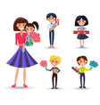 woman with daughter on arms and kids with gifts vector image vector image