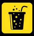 yellow black sign - carbonated drink with straw vector image vector image