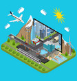 city on a laptop concept isometric view vector image