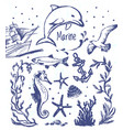 ink hand drawn collection of marine world vector image