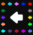 Arrow left Way out icon sign Lots of colorful vector image