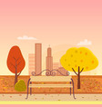autumn park and bench vector image