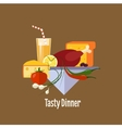 Baked Chicken Turkey Flat style vector image vector image