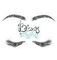 beautiful female long eyelashes and brows vector image vector image