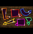 big set of retro banners with glowing lamps vector image vector image