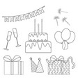 birthday outline icons set black and white vector image