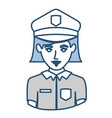 blue silhouette with half body of policewoman vector image vector image