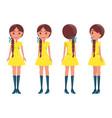braided brunette girl in modern elegant look girls vector image vector image